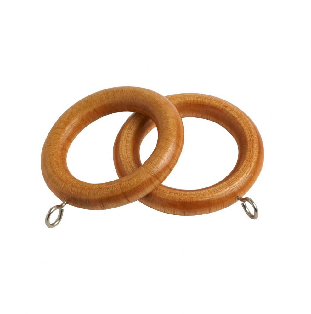 Speedy County 28mm Wooden Curtain Rings (Pack of 4) - Antique Pine